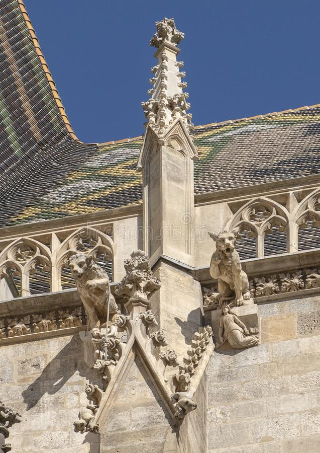 Gargoyles on the Gothic roof of Saint Stephen`s Cathedral, Vienna, Austria stock image