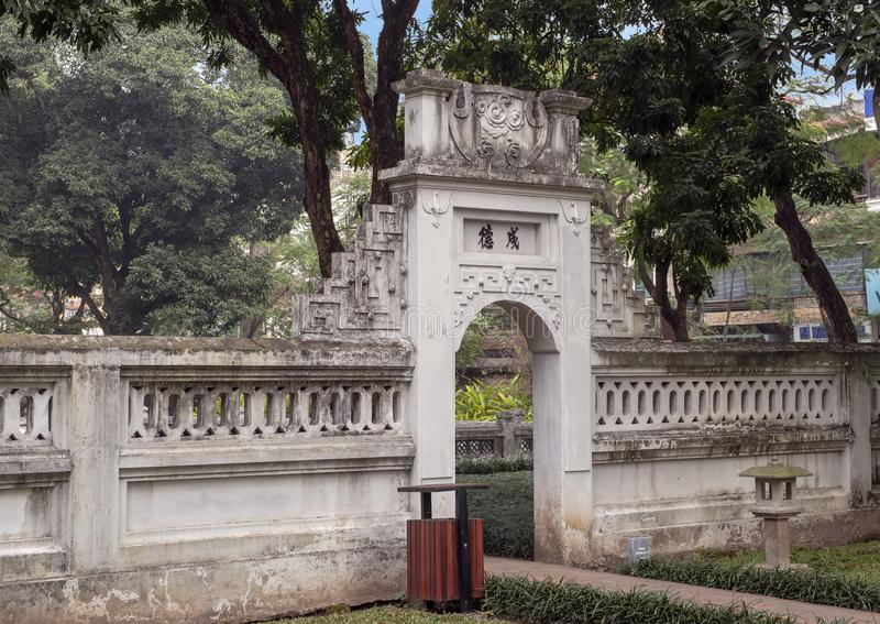 Gate next to the Khue Van Pavilion, second courtyard, Temple of Literature, Hanoi, Vietnam royalty free stock photos