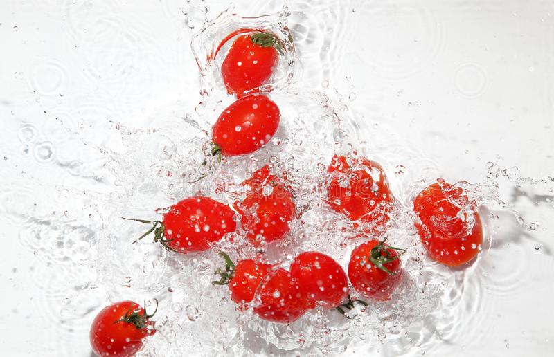 Grape tomatoes into the water royalty free stock photography