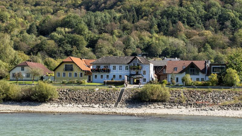 Group of Houses on the South side of the Danube River, Wachau Valley, Lower Austria. Pictured is a group of houses on the south shore of the Danube River, Wachau stock photo