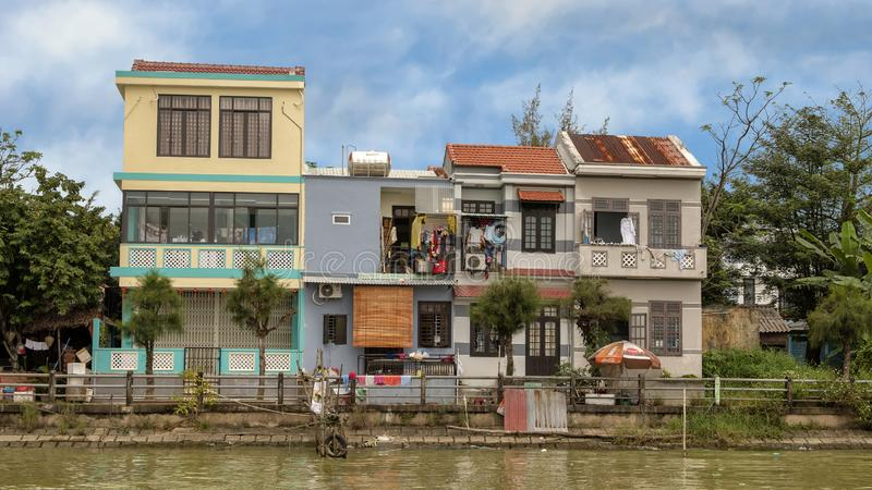Housing along the Thu Bon River, Hoi An, Vietnam royalty free stock photography