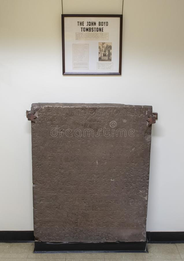 The John Boyd Tombstone in the Presbyterian Historical Society, Philadelphia. Pictured is the John Boyd Tombstone in the Presbyterian Historical Society. It stock images