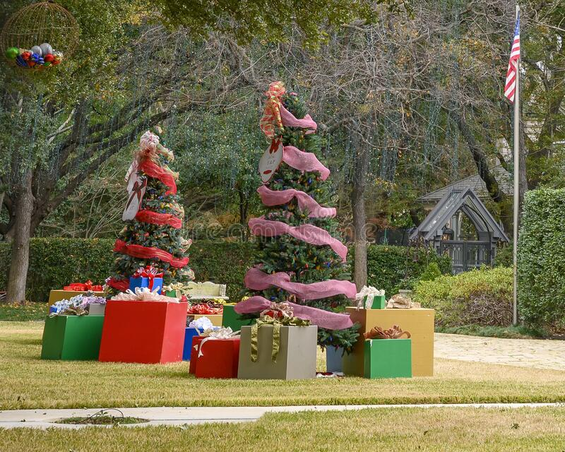 Large Christmas Yard Display With Two Decorated Trees And ...