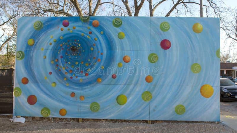 Black hole mural Bishop Arts District, Dallas, Texas stock photo