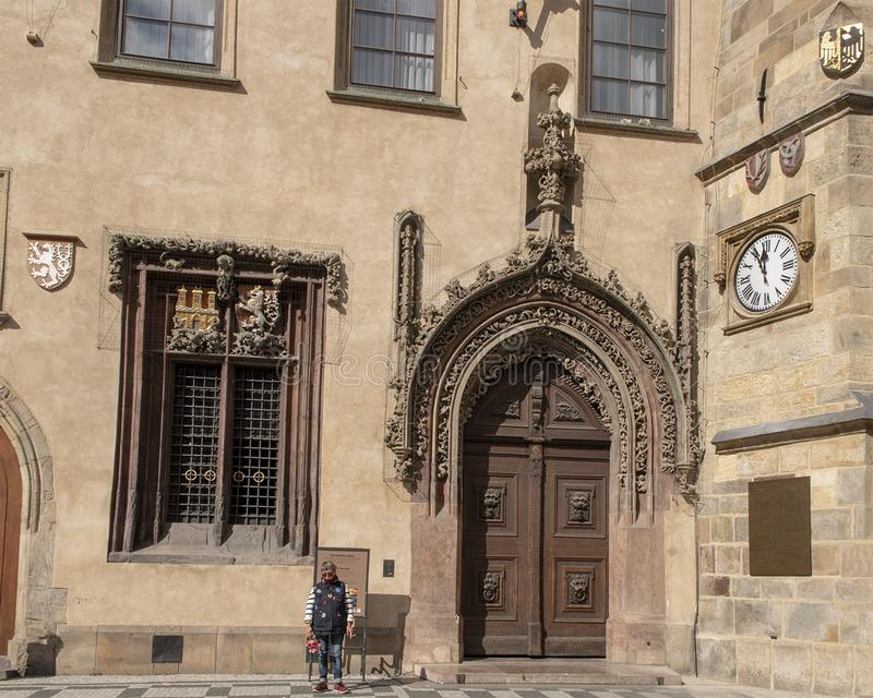 Late Gothic door, main entrance to Old Town Hall, Prague Czech republic royalty free stock image