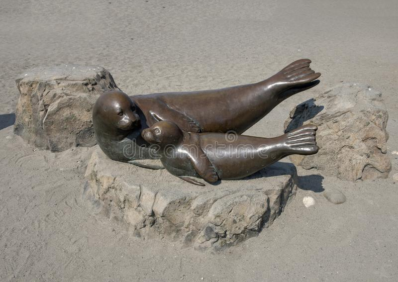 Bronze sculpture harbor-seal mother and pup, Alki Beach, Seattle, Washington. Pictured is a life size bronze sculpture of a harbor-seal mother and pup located on stock images