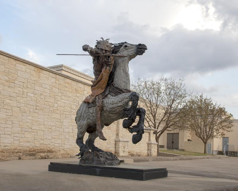 Life size warrior on rearing horse outside the Museum of Biblical Art in Dallas, Texas stock images