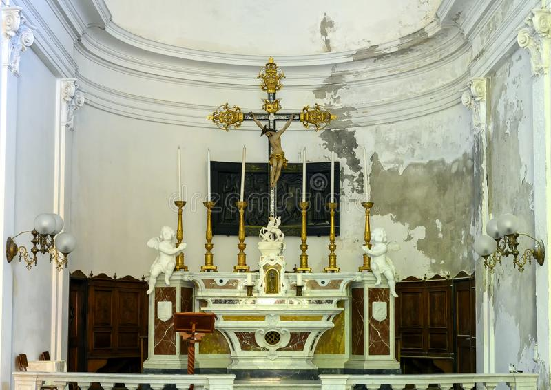 Main altar of the catholic Church of San Giorgio, Portofino, Italy royalty free stock photography