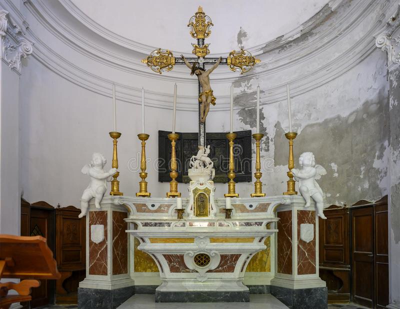 Main altar of the catholic Church of San Giorgio, Portofino, Italy stock photos