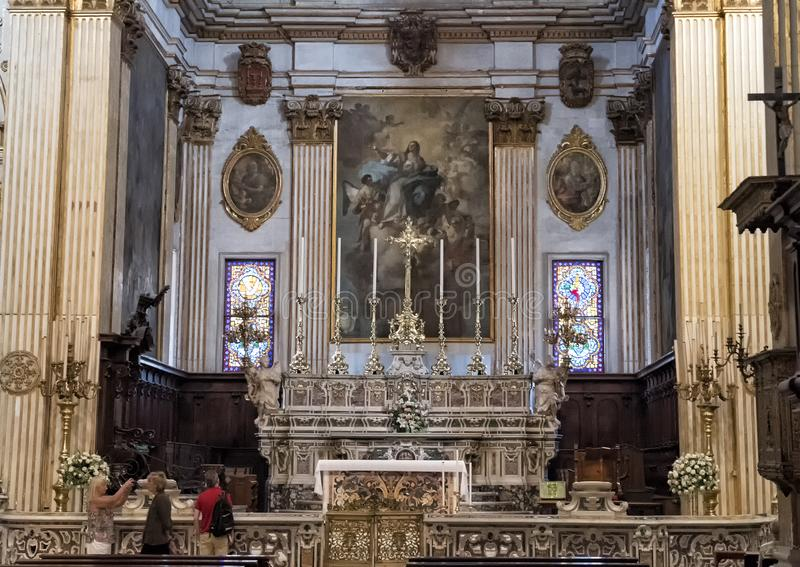 Main Altar of the Duomo Cathedral, Lecce, Italy stock photography