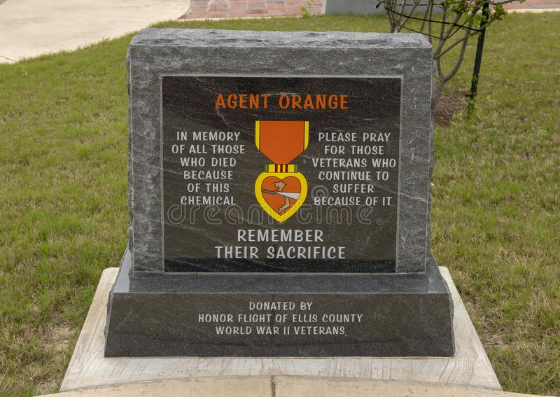 Monument for all who died because of agent orange - Veteran`s Memorial Park, Ennis, Texas. Pictured is a monument for all who died in the Vietnam War because of stock images