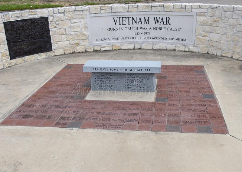 Monument for soldiers who died in the Vietnam War in the Veteran`s Memorial Park, Ennis, Texas royalty free stock photography