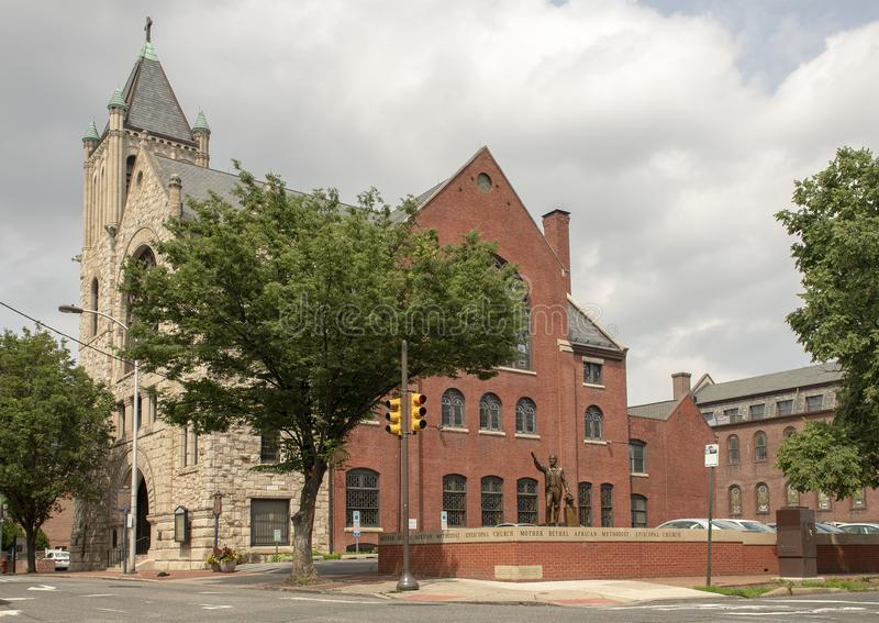 Mother Bethel African Methodist Episcopal Church, Philadelphia. Pictured is The Mother Bethel African Methodist Episcopal Church, a historic church and stock photography