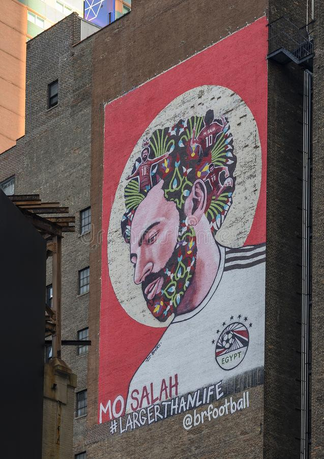 Mural of the face of Mohammed Salah, the Egyptian Liverpool football star, by Visual Artist Brandan Odums in New York City stock photos