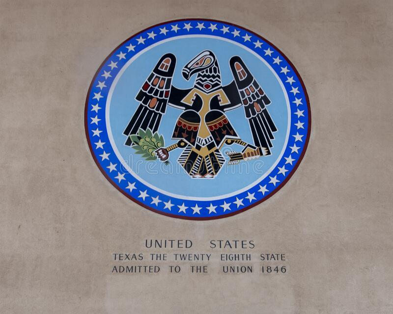Mural inside the United States Portico of the Hall of Varied Industries in Fair Park in Dallas, Texas. Pictured is a mural on a wall of the Portico of the royalty free stock photos