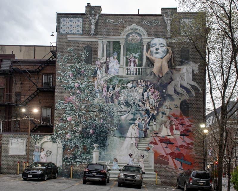 `Women of Progress` by Cesar Viveros & Larissa Preston, Philadelphia, Pennsylvania. Pictured is the mural `Women of Progress` by Cesar Viveros & Larissa Preston royalty free stock photos
