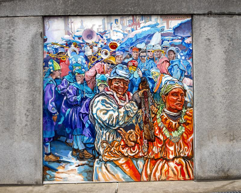 Unifying the Cultures of Neighborhood in Philadelphia, mural by Joseph and Gabriele Tiberino. Pictured is one of a series of five murals entitled `Unifying the royalty free stock images