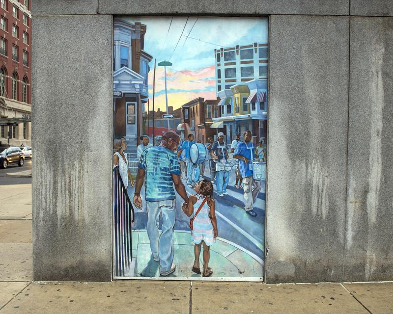 Unifying the Cultures of Neighborhood in Philadelphia, mural by Joseph and Gabriele Tiberino. Pictured is one of a series of five murals entitled `Unifying the royalty free stock photography