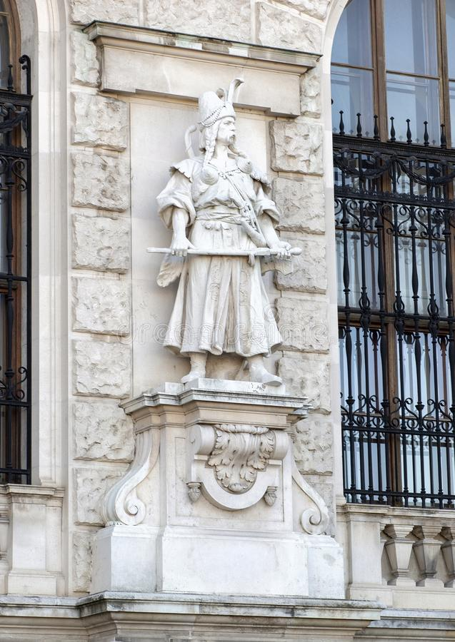Magyar or Hungarian by Rudolf Weyr, Neue Burg or New Castle, Vienna, Austria. Pictured is one of twenty statues on the façade of the Neue Burg or New stock image