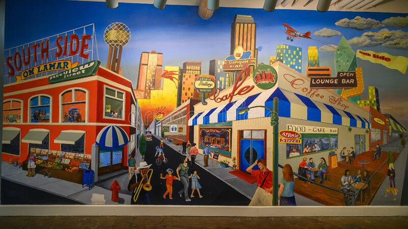 Large painting by unidentifed artist on the basement floor of 1601 South Lamar in Dallas, Texas. Pictured is a painting featuring the historic area on the South royalty free stock image