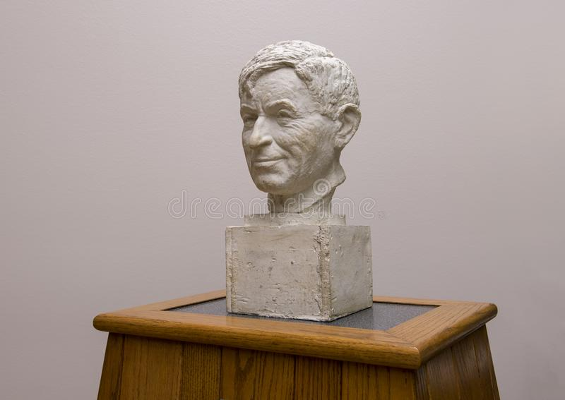 Plaster bust Will Rogers, Claremore, Oklahoma. Pictured is a plaster bust of Will Rogers by Emil Seletz MD in the Will Rogers Memorial Museum in Claremore stock images