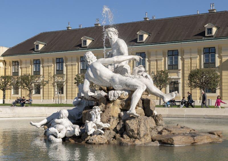 Pool with sculptural figures known as the Naiad Fountain, Schonbrunn Museum, Vienna, Austria stock photos