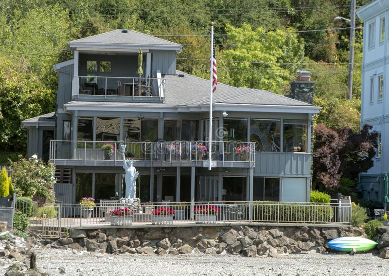 Private home along the canal between Elliott Bay and Lake Union, Seattle, Washington. royalty free stock images