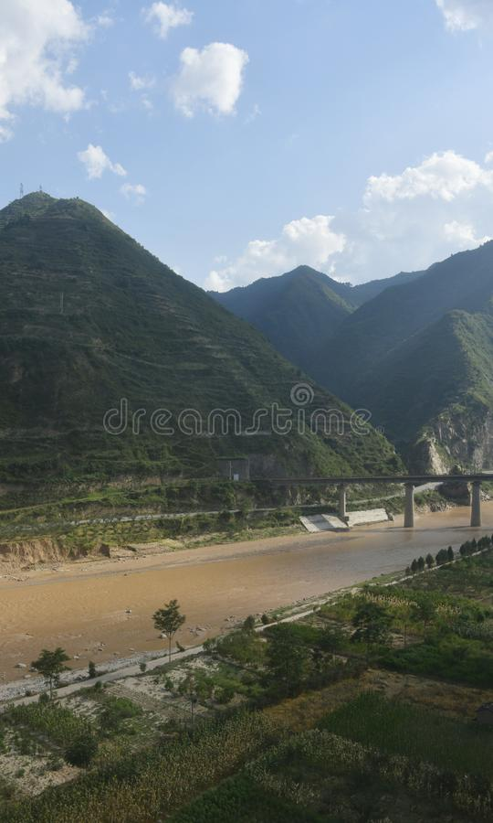 Qinling Mountains: scenery on the north south boundary of China. Pictured in Qinling Mountains, railways, highways, tunnels and bridges are built to ensure their royalty free stock photo