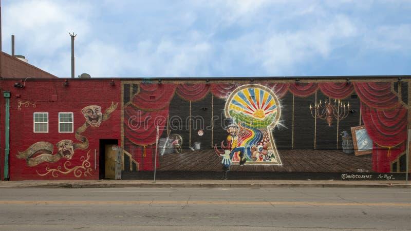 Quixotic World Magic Venue space mural in Deep Ellum by David Bryan Coley stock photo