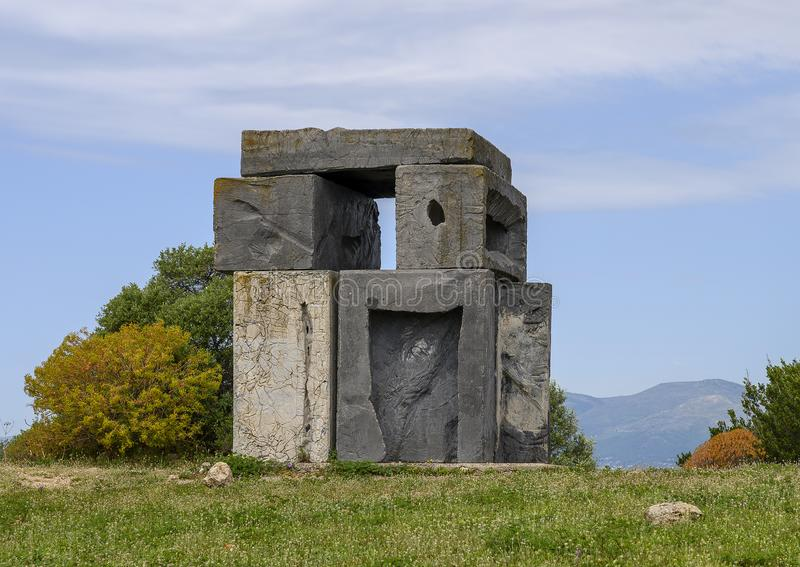 Rock sculpture beside Mount Alban Fort, between Nice and the bay of Villefranche, France. Pictured is a rock sculpture beside Mount Alban Fort in Parc Du Mont stock image