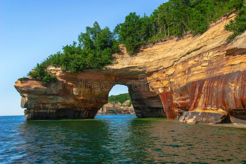 Pictured Rocks National Lakeshore. Michigan, USA. Arch in Pictured Rocks National Lakeshore. Michigan, USA royalty free stock photography