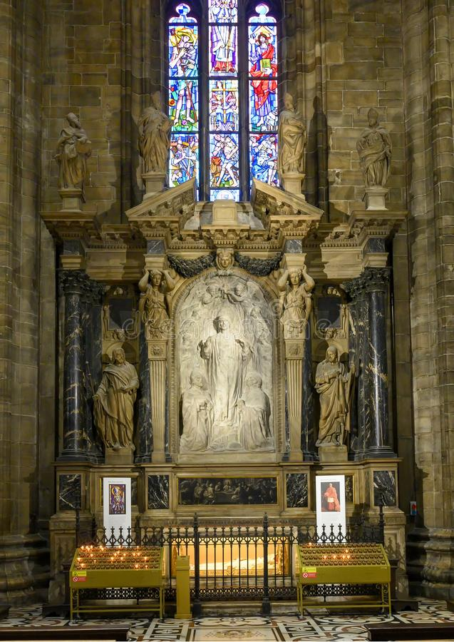 Sacred Heart Altar inside the Milan Cathedral, the cathedral church of Milan, Lombardy, Italy. royalty free stock images