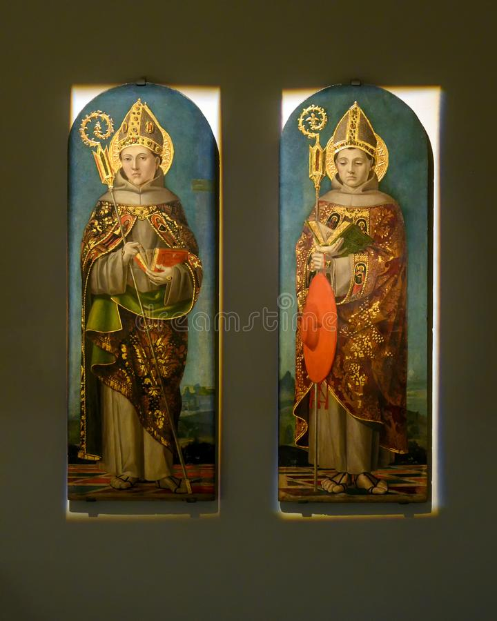 `Saint Louis of Toulouse and Saint Bonaventure` by Bernardo Zenale in The Pinacota Ambrosiana, the Ambrosian art gallery in Milan stock photos
