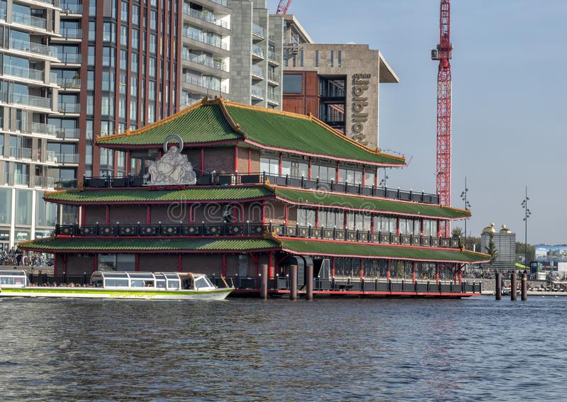 Sea Palace, the first floating restaurant in Europe in Amsterdam, Netherlands stock images