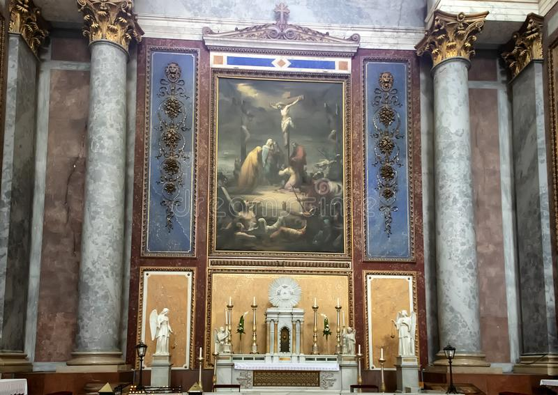 Side altar painting to the left of the main altar inside the Esztergom Basilica, Esztergom, Hungary. Pictured is the side altar painting to the left of the main royalty free stock photos