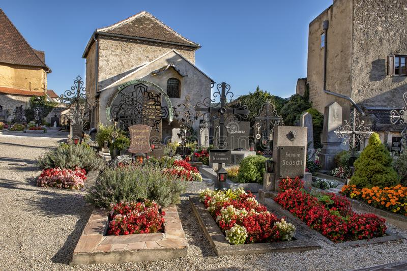 Small cemetery in the Township of Durnstein, Austria. Pictured is a small cemetery in the Township of Dunrstein, Austria. It is located on the grounds of the stock images