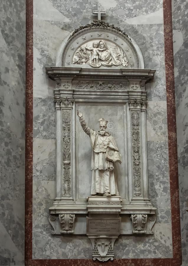 Statue Petri Cardinalis Pazmany, Esztergom Basilica, Hungary. Pictured is a statue of Petri Cardinalis Pazmany on an interior wall of the Esztergom Basilica stock images