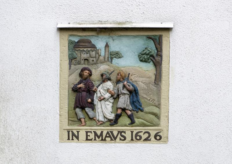IN EMAVS 1626, on a white blank wall on the Begijnhof, Amsterdam stock image