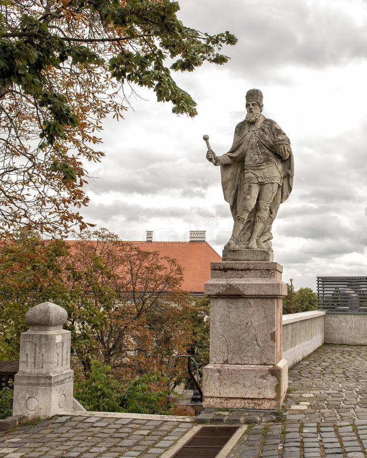 Statue of Szent Istvan at the Esztergom Basilica, Hungary. Pictured is a stone satue of Szent Istvan at the Esztergom Basilica, Hungary. Szent Istvan is also stock image