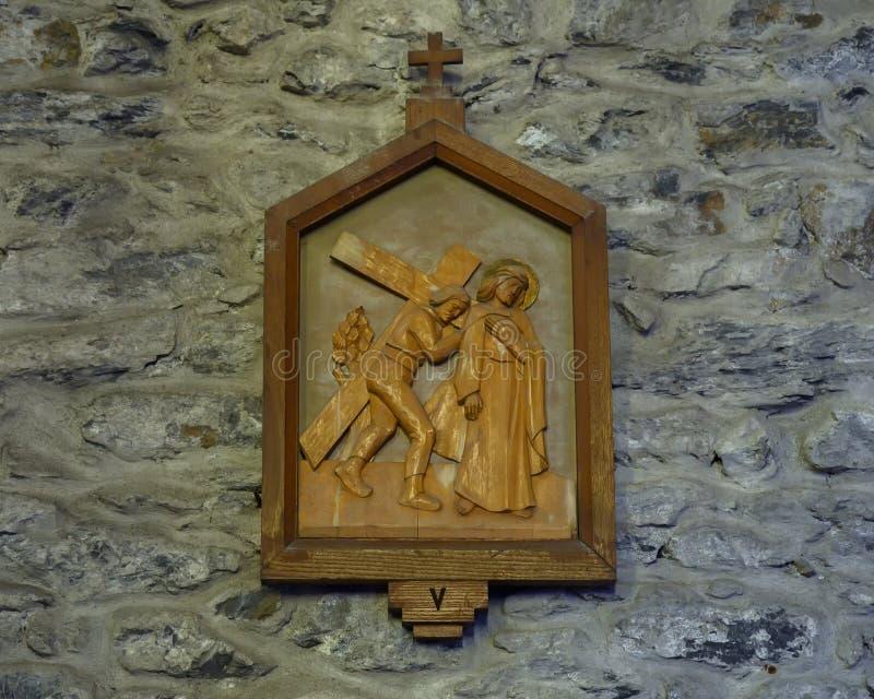 Wooden 5th Station of the Cross, Church of Santa Margherita d`Antiochia in Vernazza, Liguria, Italy stock photos