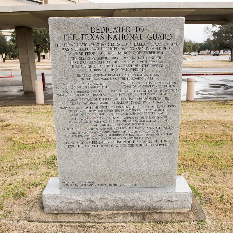 War monument dedicated to The Texas National Guard in the Veterans Memorial Garden. royalty free stock images