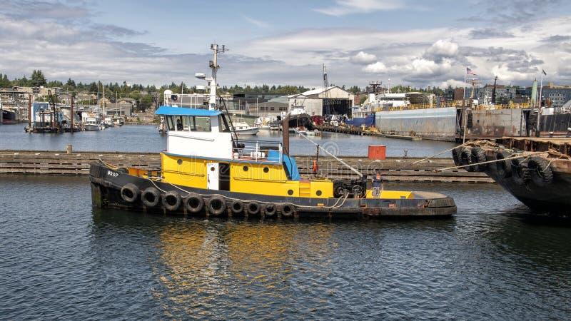 The WASP towing on the Lake Washington Ship Canal royalty free stock image
