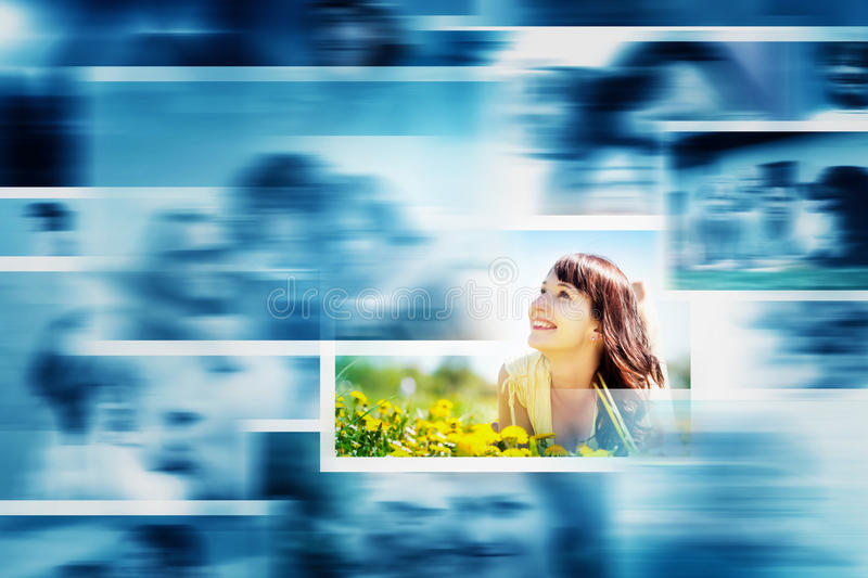 Pictures display in motion making a multimedia broadcast. stock photography