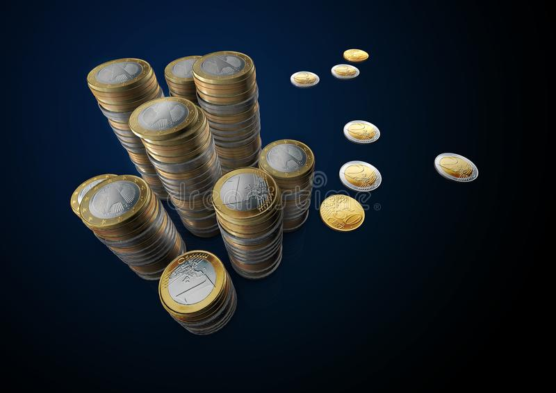 Pictures of euro coins up table royalty free stock photo
