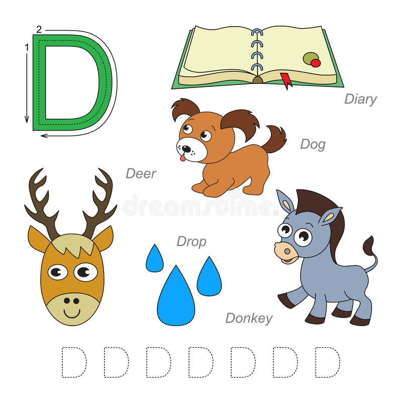 Pictures for letter D royalty free illustration