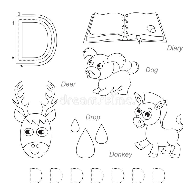 Pictures for letter D stock illustration