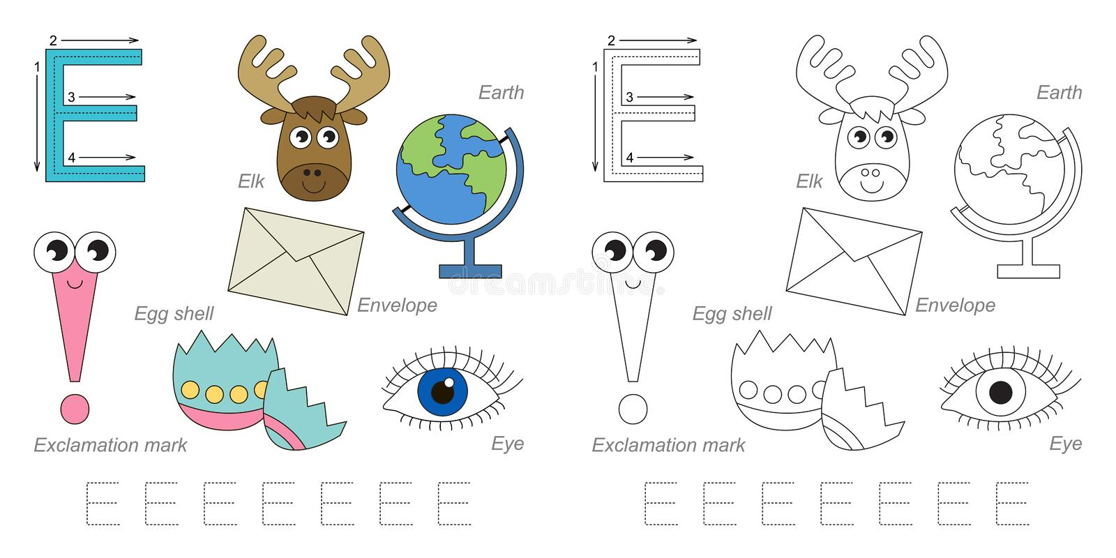 Pictures for letter E royalty free illustration