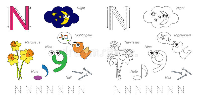 Pictures for letter N. Tracing Worksheet for children. Full english alphabet from A to Z, pictures for letter N, the colorful version stock illustration