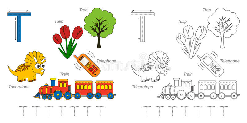 Pictures for letter T vector illustration