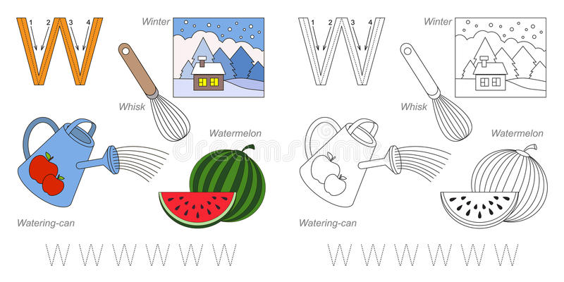 Pictures for letter W royalty free illustration